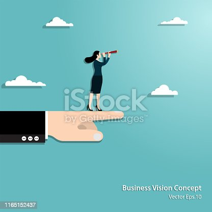 Business vision and target. Businesswoman hold telescope standing on hand looking to success in career. Concept business, Achievement, Character, Leader, Vector illustration flat