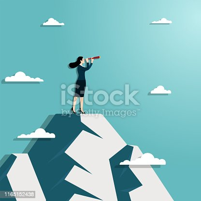 Business vision and target. Businesswoman hold telescope standing on top of mountian looking to success in career. Concept business, Achievemant, Character, Leader, Vector illustration flat