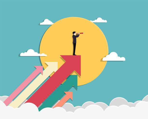 ilustrações, clipart, desenhos animados e ícones de visão de negócio e alvo. - startup