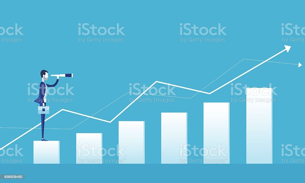 business vision concept and business man standing on graph growth vector art illustration
