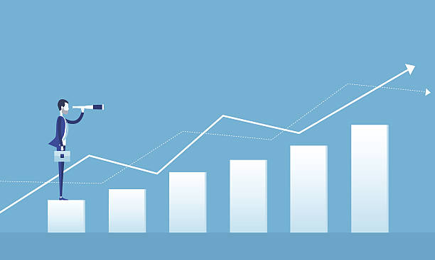 business vision concept and business man standing on graph growth flat vector for  business vision concept and business man standing on graph growth with group people business concept  stability stock illustrations