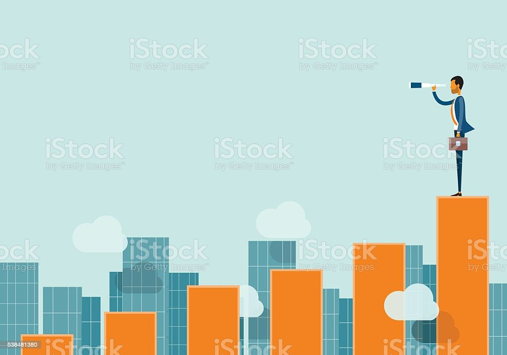 business vision concept and business man standing on graph vector art illustration