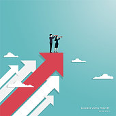Business vision, Businessteam holding telescope standing on red arrow up go to success in career, Concept business, Achievement, Character, Leadership, Vector illustration flat