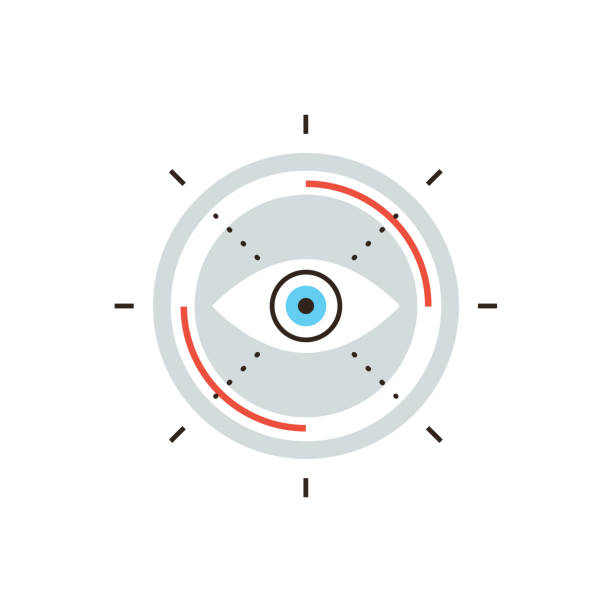 Business vision flat line icon concept Thin line icon with flat design element of business vision, search mission target, innovative look to future, abstract eyesight view. Modern style logo vector illustration concept. image focus technique stock illustrations