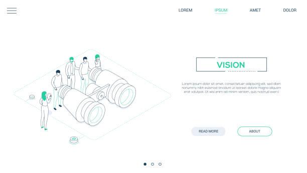 Business Vision-Linie Design Stil isometric Web-Banner – Vektorgrafik