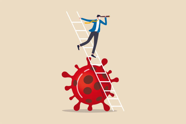 illustrazioni stock, clip art, cartoni animati e icone di tendenza di business vision new normal after coronavirus covid-19 pandemic causing financial crisis and economy recession concept, businessman leader holding telescope on top of ladder above coronavirus pathogen - project