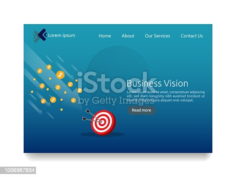 istock Business vision strategy concept. arrow to achievement goal target. financial success analysis. successful investment income profit. banner flat style for web landing page vector illustration 1056987834