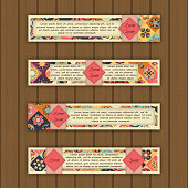 Banner card set with floral colorful decorative tile elements background. Tribal,ethnic,Indian, Islam, Arabic, ottoman motifs.