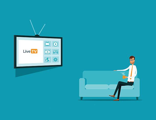 Unternehmen Sie online-Fernseher auf sofa – Vektorgrafik