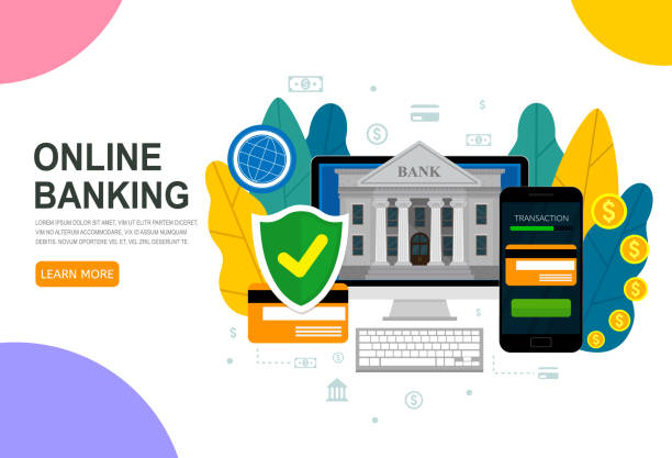 Business web banner. Banking concept, protection payment, bank financing, money exchange. Vector flat illustration. vector art illustration