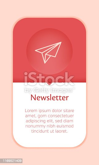 Business Web Banner Template with Single Newsletter Icon