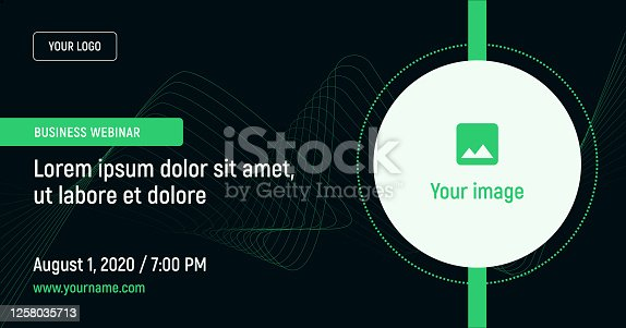 istock Business webinar with image and contact data on a dark background. 1258035713