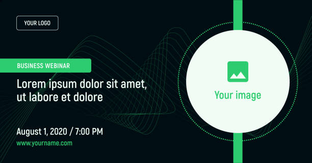 Business webinar with image and contact data on a dark background. Green vector template for webinar, conference, e-mail, flyer, meetup, party, event, web header banner ads templates stock illustrations