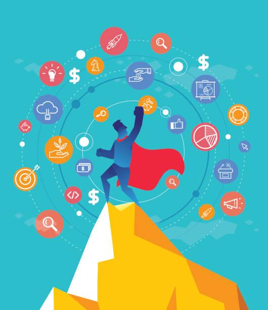 business win - entrepreneurship stock illustrations