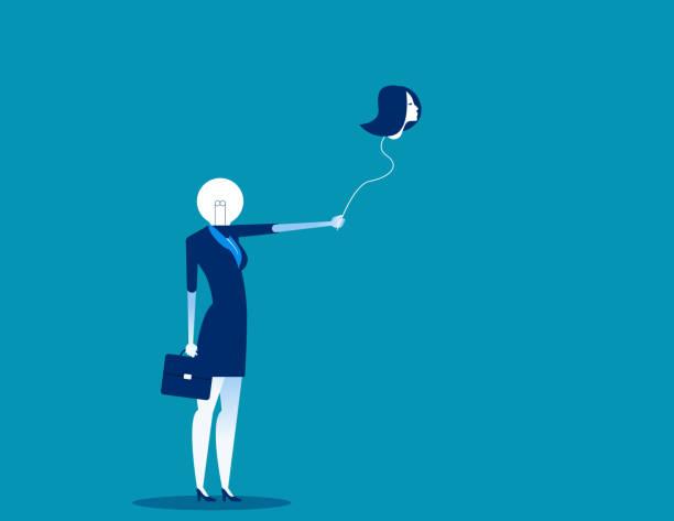 業務與氣球頭。概念業務向量插圖。保持, 人體部分。 - 被砍頭 幅插畫檔、美工圖案、卡通及圖標