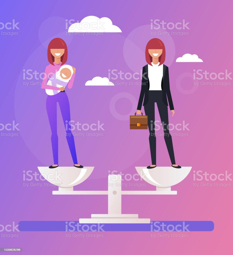 Entreprise femme femme au foyer caractères et permanent à l'échelle. Choix de carrière vs famille. Illustration graphique de vecteur caricature plat design - Illustration vectorielle