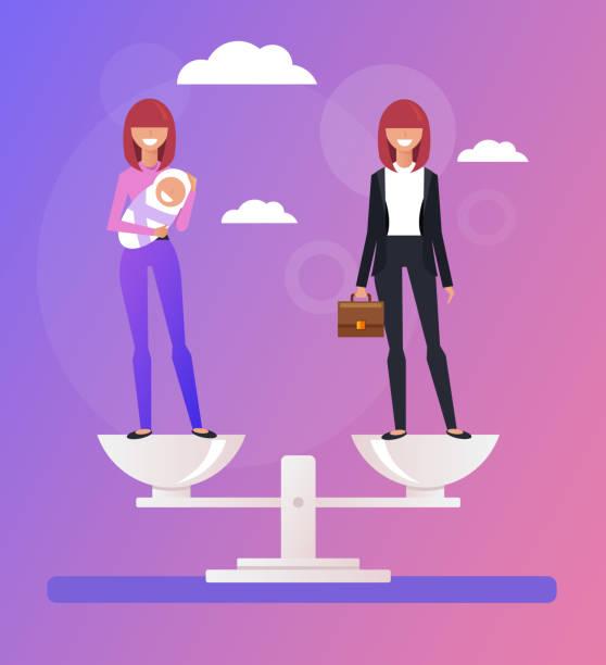 illustrations, cliparts, dessins animés et icônes de entreprise femme femme au foyer caractères et permanent à l'échelle. choix de carrière vs famille. illustration graphique de vecteur caricature plat design - femmes actives