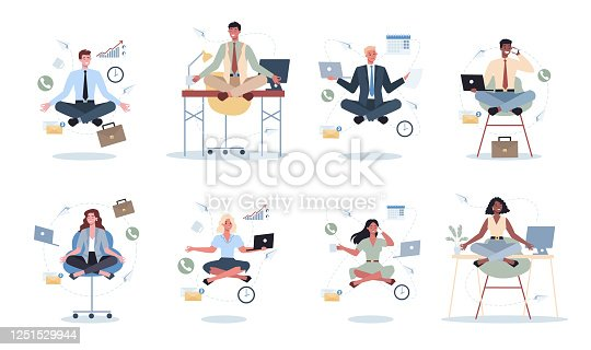 istock Business woman and man in lotus pose set. Employee meditate against stress. Deadline 1251529944