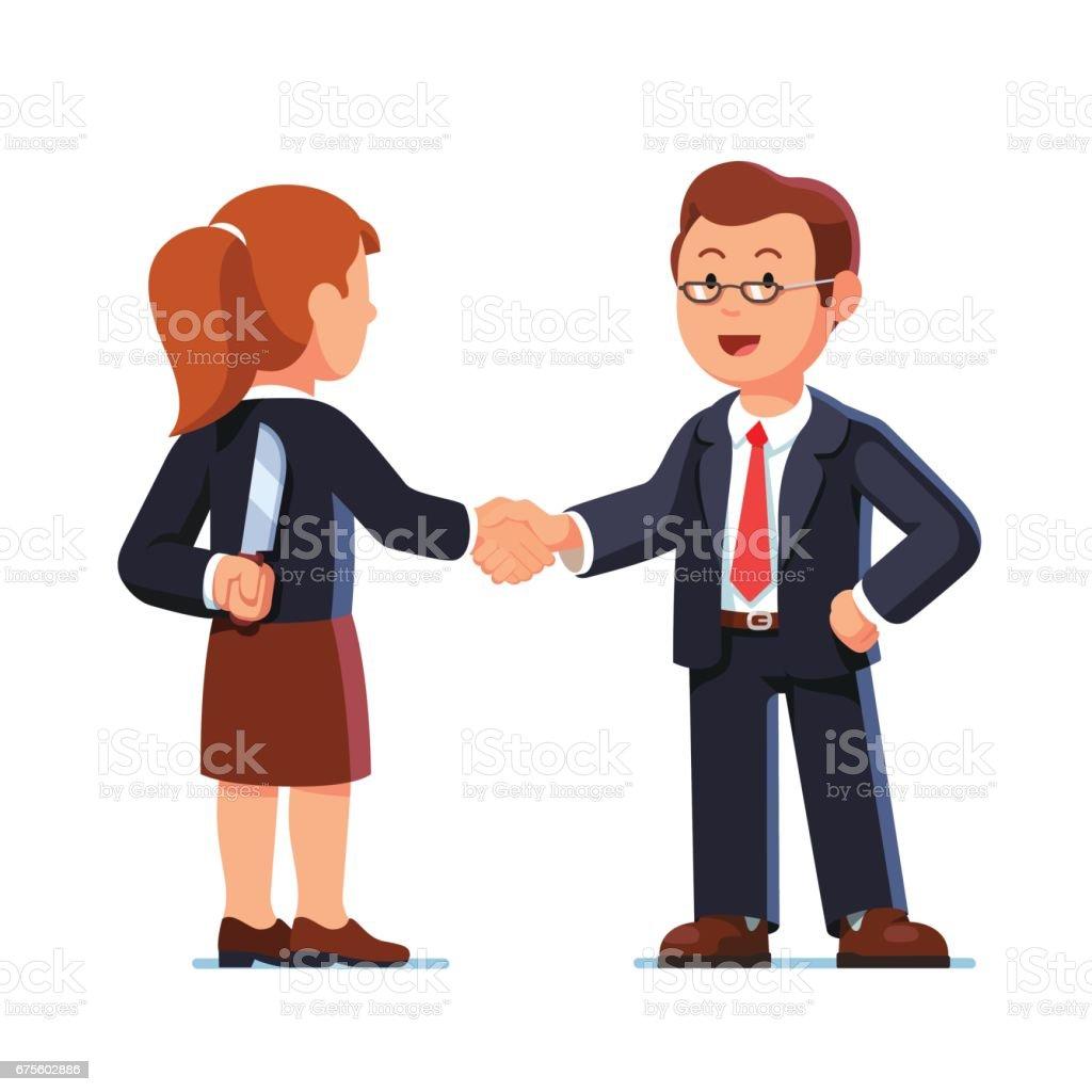 Business woman and man shaking hands. Betrayal.