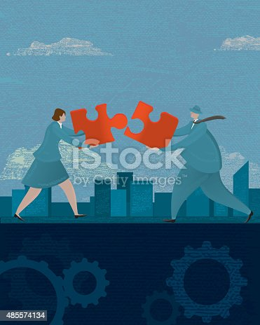 Vector illustration of a stylized businessman and business woman demonstrating teamwork with puzzle pieces. Problem solving, Banking, lawyer, investing, financial advisor. male, men in business, business man, briefcase, entrepreneur, Financial and business, money, wealth, gears, white background. Very textured. Download includes Illustrator 10 eps.