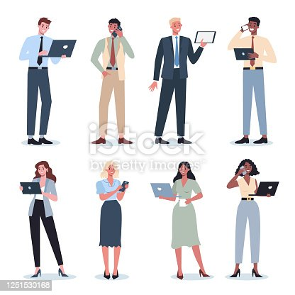 Business woman and man with gadgets set. Collection of female and male character in suit holding smartphone, tablet or laptop. Internet and network in device. Isolated flat vector illustration