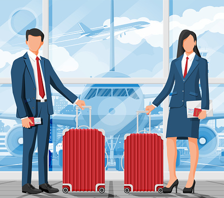 Business Woman and Man with Travel Bag