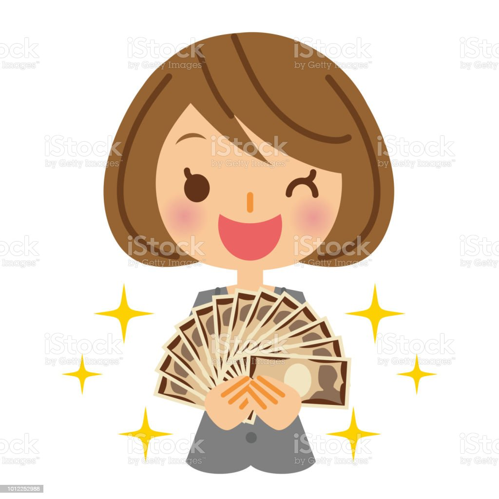 Business woman and money. vector art illustration