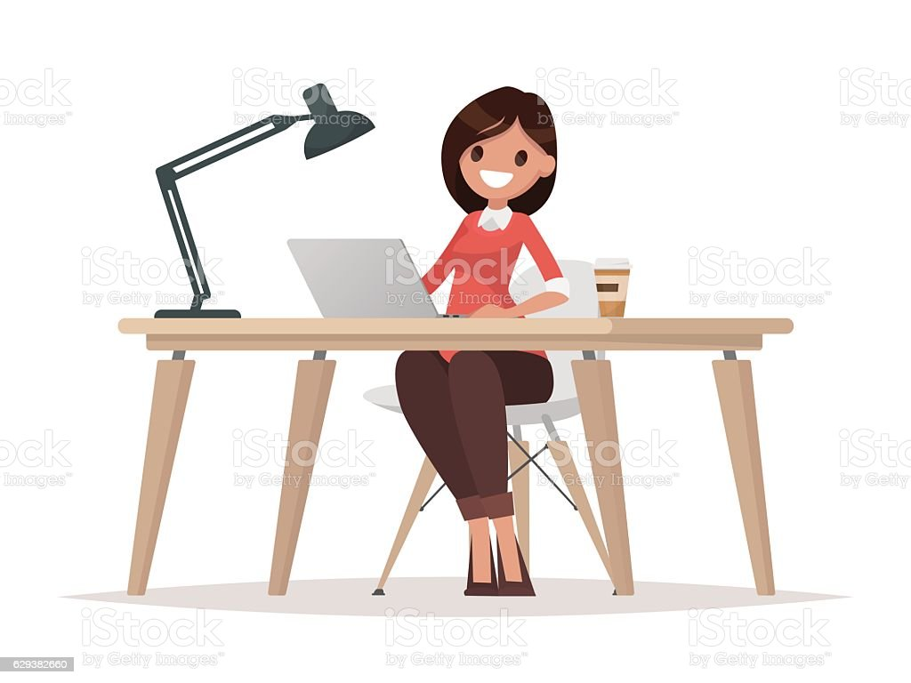 Business woman at the desk is working on the laptop vector art illustration