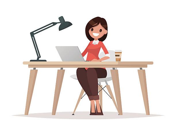 business woman at the desk is working on the laptop - schultische stock-grafiken, -clipart, -cartoons und -symbole
