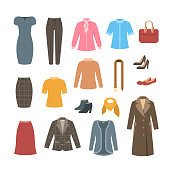 Business woman basic clothes and shoes set. Vector flat illustration. Office formal dress code outfit. Cartoon illustration. Icons of dress, skirt, jacket, coat, trousers, shirt, bag, boots.