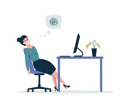 Business woman burnout in the workplace, girl tired of working at the computer
