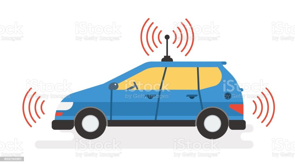 Business woman calls a taxi by phone vector art illustration