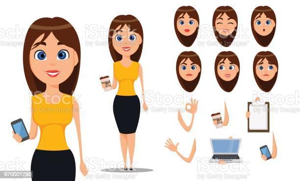 Business woman cartoon character creation set young attractive in vector id670001290?b=1&k=6&m=670001290&s=612x612&h=yi7l p5x 1f  hd3d2ymh lvpfgxrgviz2d dbskusu=