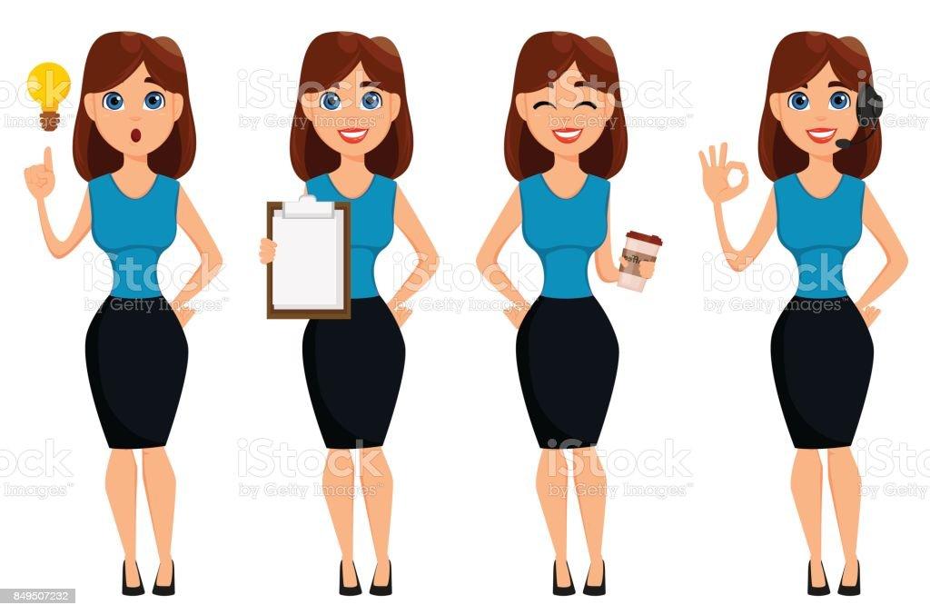 Business woman cartoon character. Cute brunette businesswoman set, 4 poses. vector art illustration