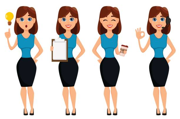 business woman cartoon character. cute brunette businesswoman set, 4 poses. - business casual fashion stock illustrations