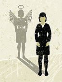 Business Woman Casting an Angel Shadow