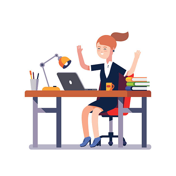 business woman celebrating working achievement - business casual fashion stock illustrations