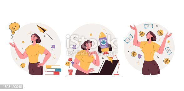 istock Business woman character creating and development new business project and get money. Fresh business idea development steps and stages. Vector flat graphic design illustration 1323420046