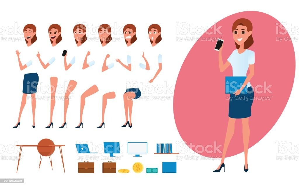 Business Woman Character Creation Set For Animation Parts Body ...