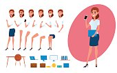 Business woman character creation set for animation. Parts body template. Different emotions, poses and  running, walking, standing, sitting. Cartoon Vector Illustration.