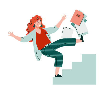 Business woman character falling from stairs flat vector illustration isolated.