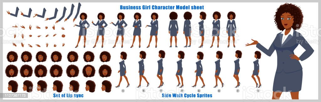 Business Woman Character Model Sheet With Walk Cycle Animation