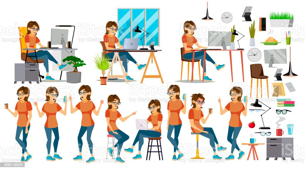 Business Woman Character Vector. In Action. IT Startup Business Company. Environment Process. Planning. Cartoon Illustration vector art illustration
