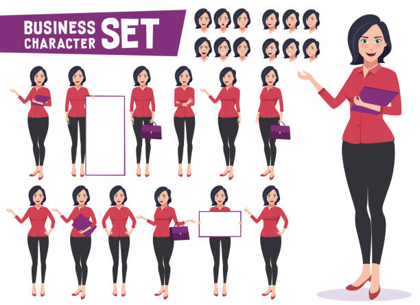 Business woman character vector set with professional young female employee or teacher Business woman character vector set with professional young female employee or teacher standing in different gestures and pose for business presentation. Vector illustration. characters stock illustrations