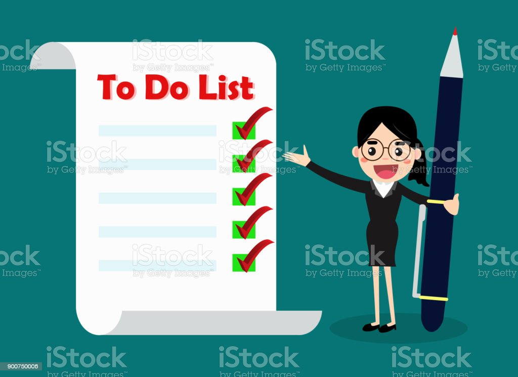 business woman checklist of work priority to do list concept