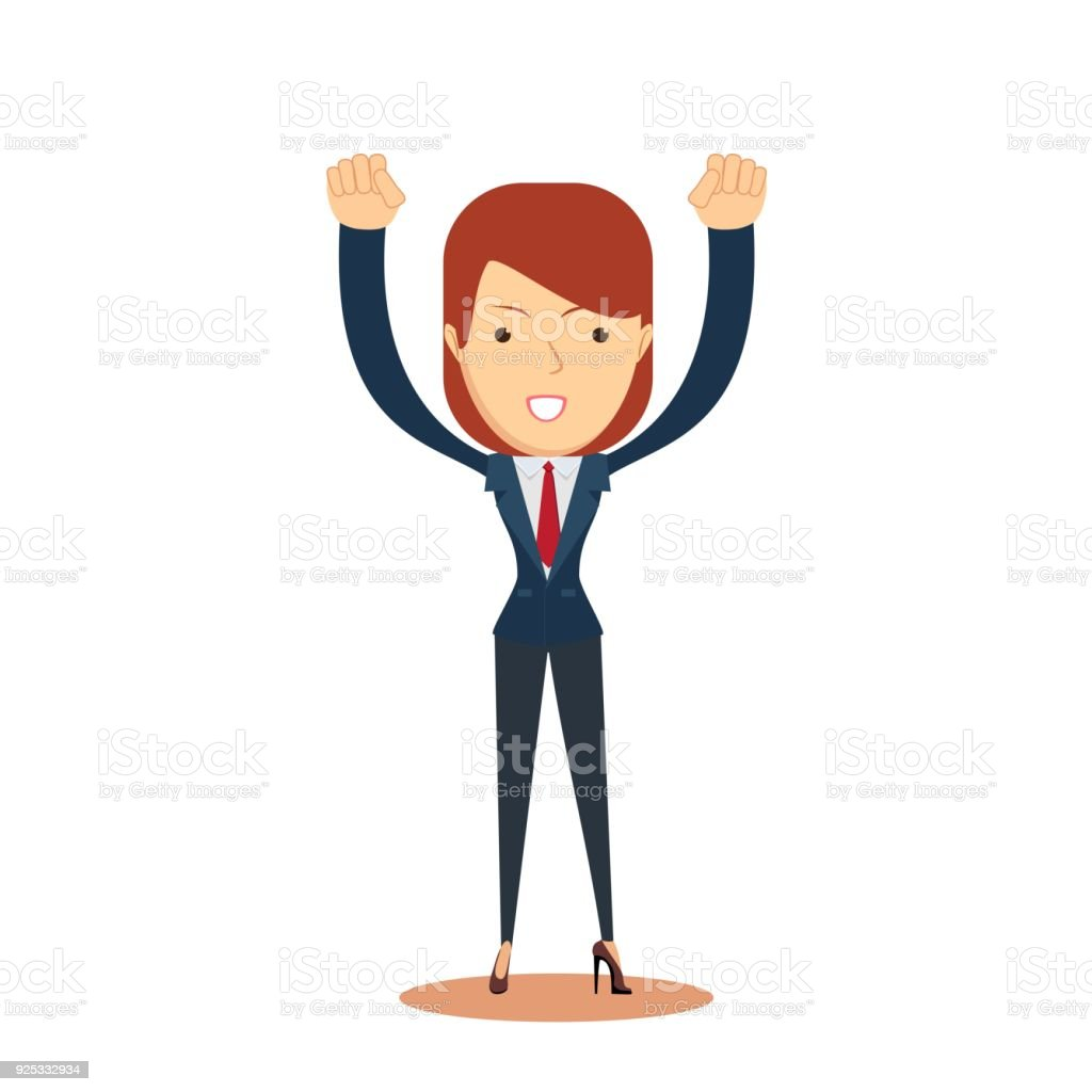 business woman cheering with her hands in the air vector art illustration