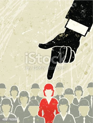 Chosen Woman! A stylized vector cartoon of a Businesswoman being pointed at by a Giant hand, the style is  reminiscent of an old screen print poster, suggesting achievement, upwards, overcoming obstacles,chosen one, point at, recruitment, choice or competition. Men, woman, Hand, paper texture and background are on different layers for easy editing. Please note: clipping paths have been used,  an eps version is included without the path.