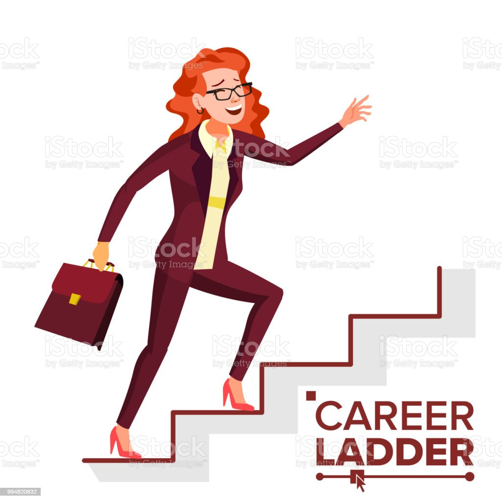 Business Woman Climbing Career Ladder Vector Fast Growth Stairs Job Success Concept Step By Step Isolated Cartoon Illustration Stock Illustration Download Image Now Istock