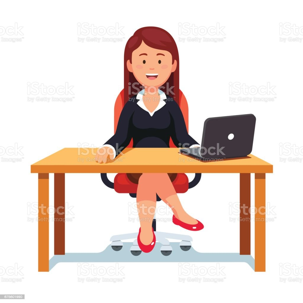 Business woman confidently sitting in office chair vector art illustration