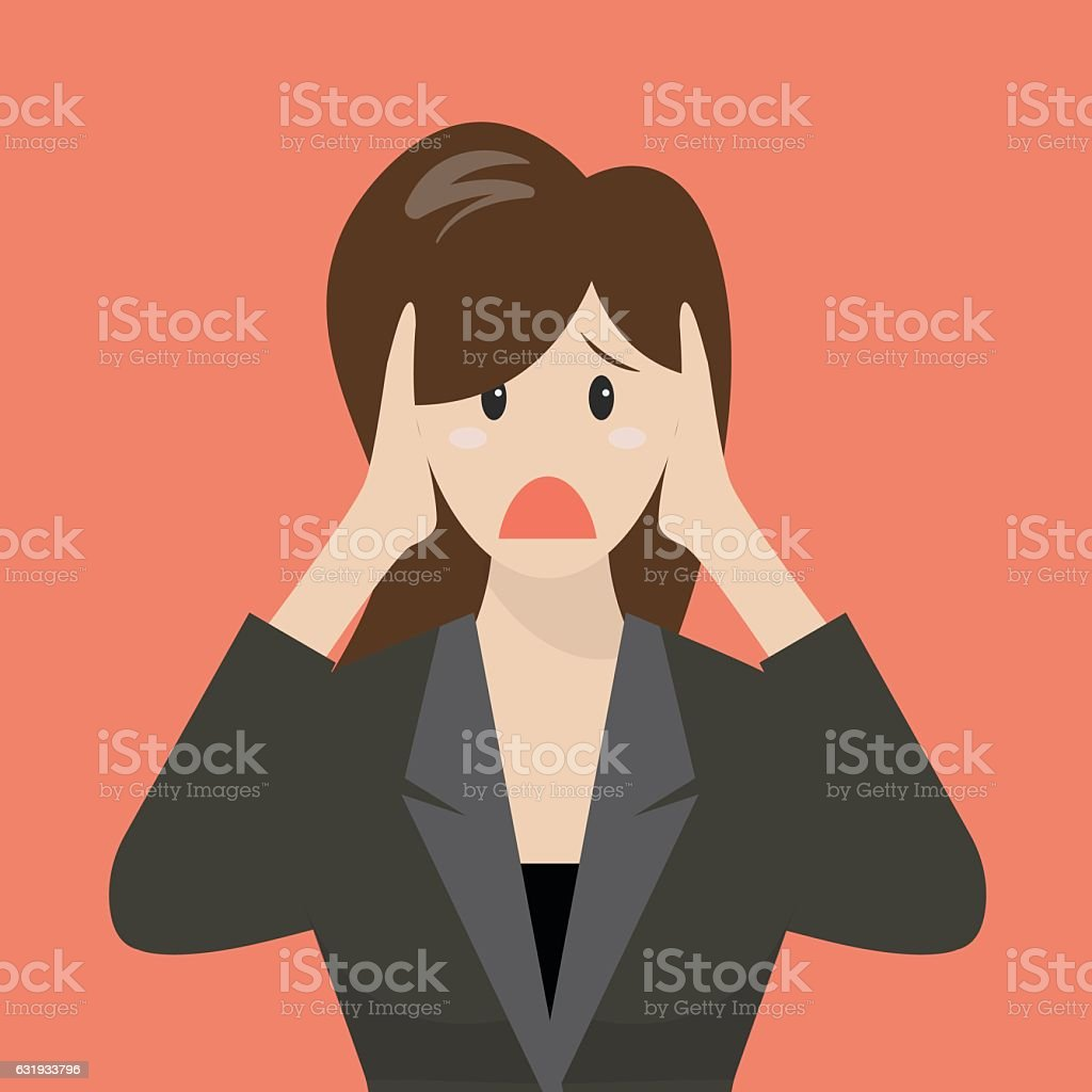 Business woman covering her ears vector art illustration